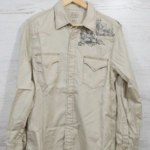 Lucky Brand  Pearl Snap  Tan Western Shirt Size M